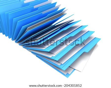 Row of blue binders of documents, white background