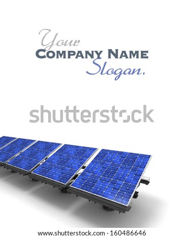 Row of blue solar panels against a white background - stock photo