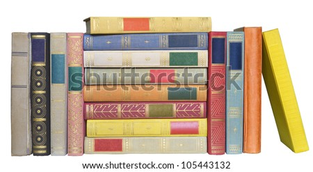 Row of books, isolated on white background - stock photo