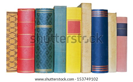 Row of books isolated on white background, free copy space - stock photo