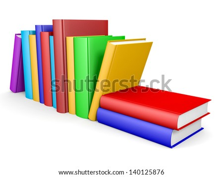 Row of books on white background. 3D illustration. - stock photo