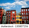 Row of brick houses in Boston historical North End - stock photo