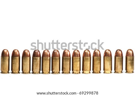 Row of bullets on white background isolated - stock photo