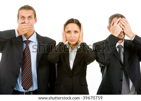 Row of business partners closing their eyes, mouth and ears - stock photo