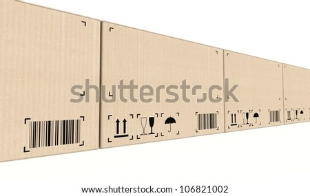 Row of cardboard boxes background on white