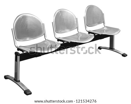 row of chair isolated on white (clipping path) - stock photo