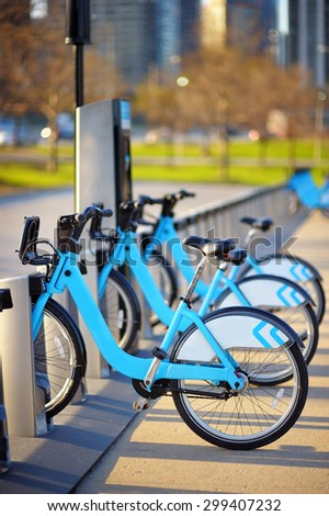 Bikes To Rent In Chicago Row of city bikes for rent in