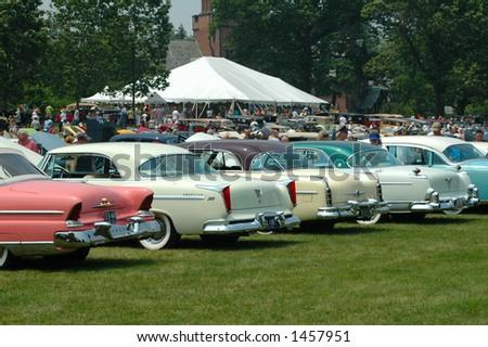 Row of classic cars - stock photo
