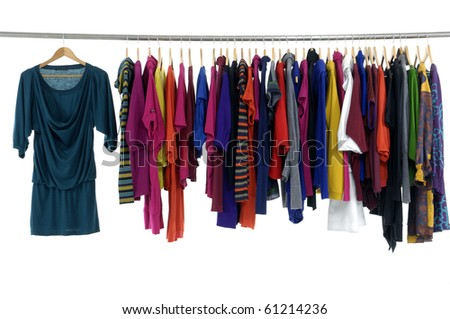 Row of clothing on hanger in a row