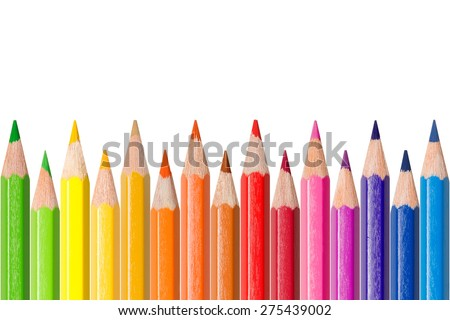 Row of colored pencils, isolated in front of white background, color concept  - stock photo