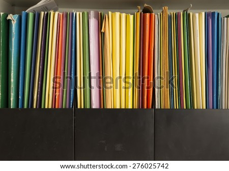Row of colorful folders - stock photo