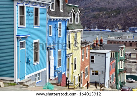 Row of colorful houses in the city of Saint John's, Newfoundland, Canada. - stock photo