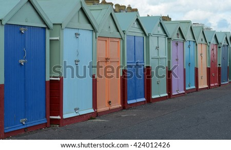 Row of Colorful Painted Beach Huts