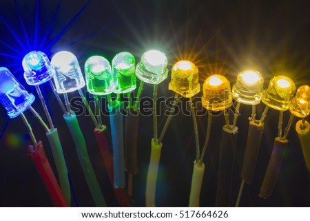 Row of colorful shining led lights connected to each other