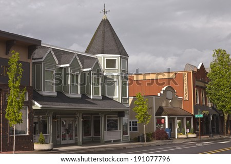 Row of commercial stores in downtown Troudale Oregon. - stock photo