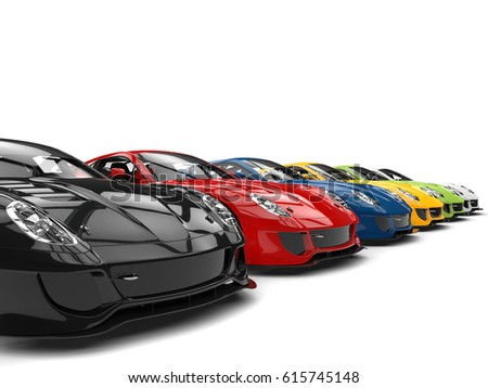 Row Cool Modern Sports Cars Various Stock Illustration - Cool modern cars