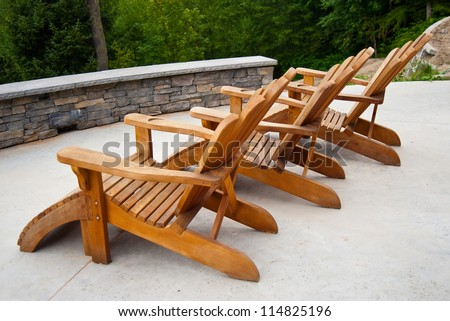 Row of deck chairs - stock photo