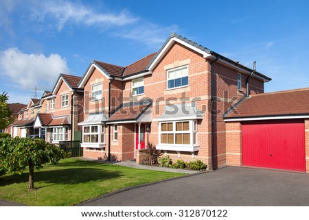 Row of detached houses view - stock photo