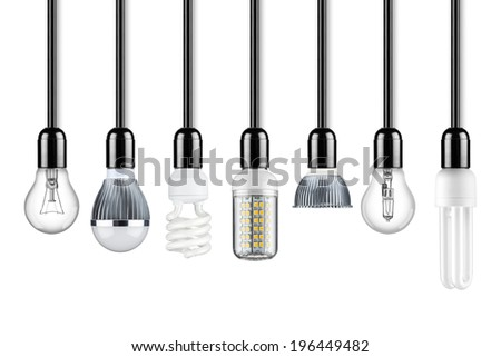row of different types of light bulbs - stock photo