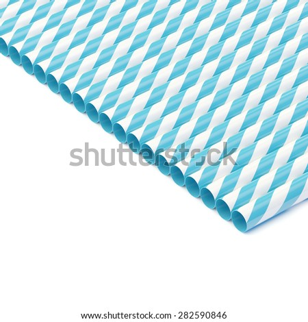Row of drinking straws isolated on white - stock photo