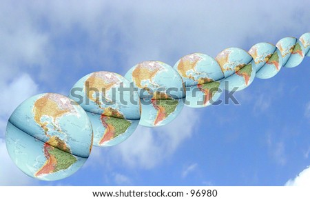 Row of Earths - stock photo