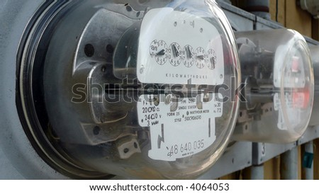 Row of electric meters - stock photo