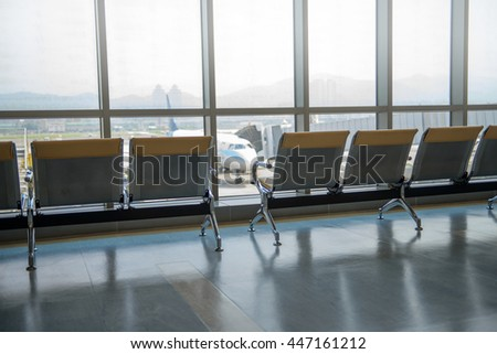 row of  empty airport seats