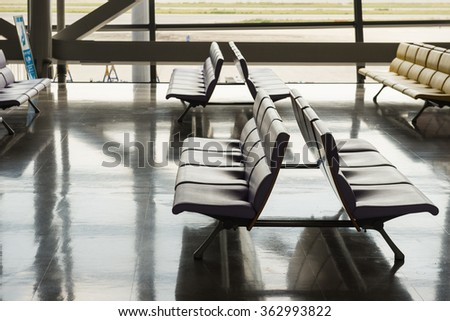 Row of empty chairs at Airport.