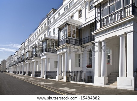 row of English Regency houses - stock photo