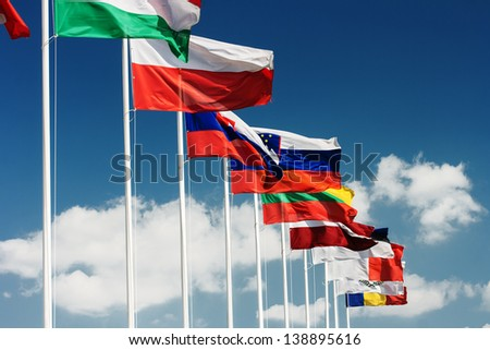 Row of European country  flags - stock photo