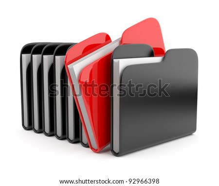 Row of folders and files. 3D illustration isolated on white background - stock photo