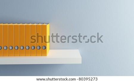 row of folders on bookshelf, 3d render - stock photo