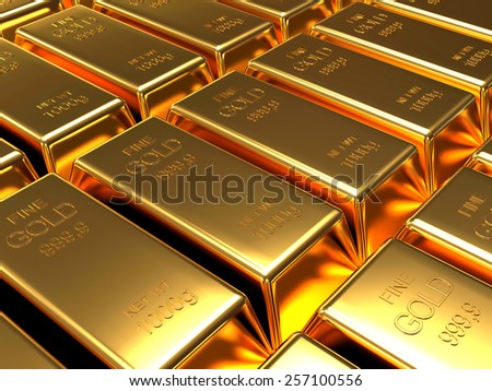 Row of golden bars.  Business and financial  background