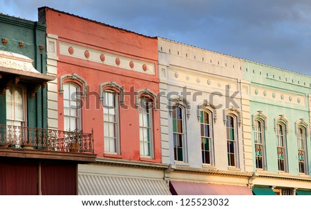 Row of historic downtown shops - stock photo