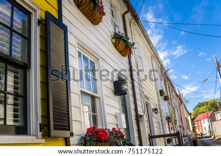 Row of Historic Wooden Houses under Blue Sky. Annapolis, MD