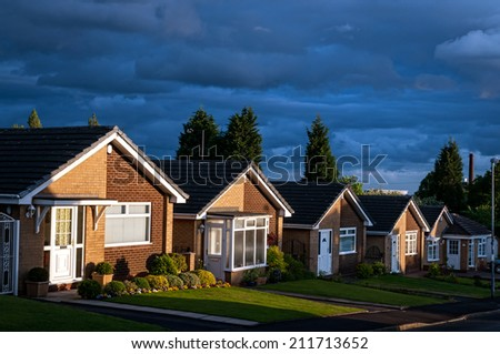 Row of houses on a typical British Street - stock photo