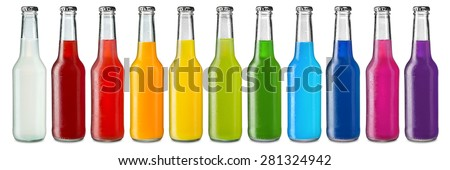 row of ice cold colorful soft drinks - stock photo