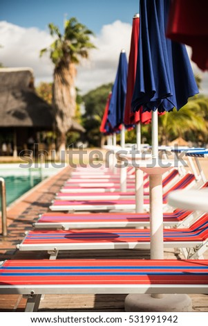 Row of Italian sun beds next to the resort pool