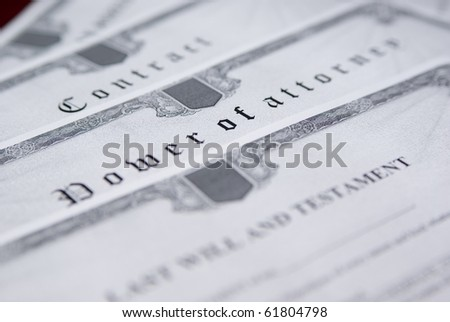 Row of legal documents for notary signing - stock photo