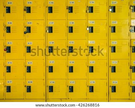 row of lockers - stock photo