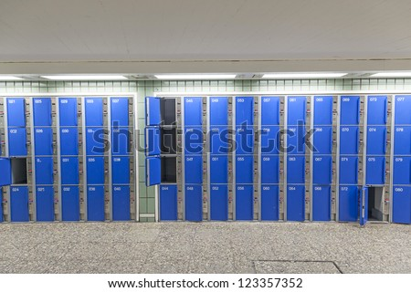 row of lockers at the station - stock photo