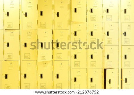 row of lockers with dramatic lighting - stock photo
