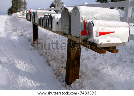 Row of mail boxes in early winter Idaho - stock photo