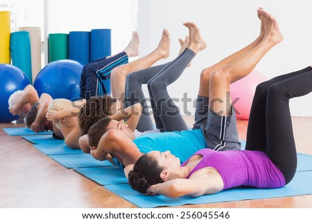 Fitness Class Stretching Legs Hands Row Stock Photo ...