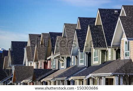 Row of modern townhouses in Vancouver, Canada - stock photo