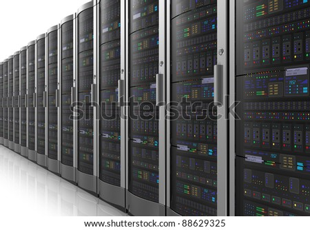 Row of network servers in datacenter room isolated on white reflective background