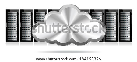 Row of Network Servers with Cloud - Information technology conceptual image - Raster Version - stock photo