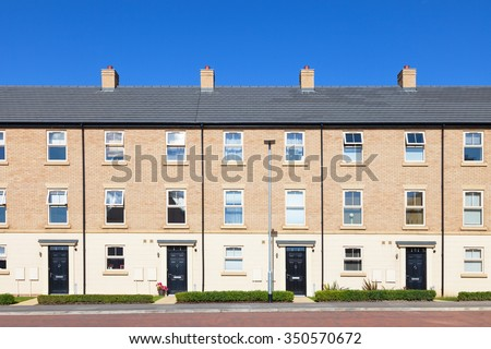 Row of new english terraced houses - stock photo