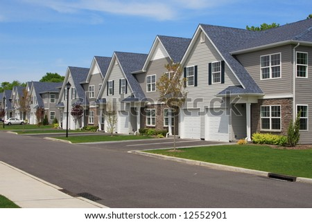 Row of new town homes waiting for occupancy