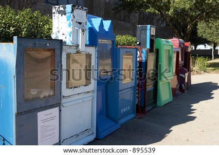 Row of newspaper boxes